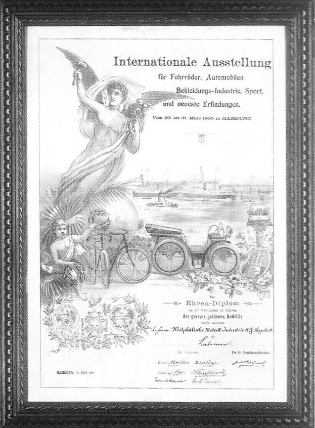 Ehrendiplom, welches im März 1900 für WMI-Produkte ausgestellt wurde
